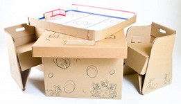 Cascades' Cardboard Playroom Table and Children's Chairs