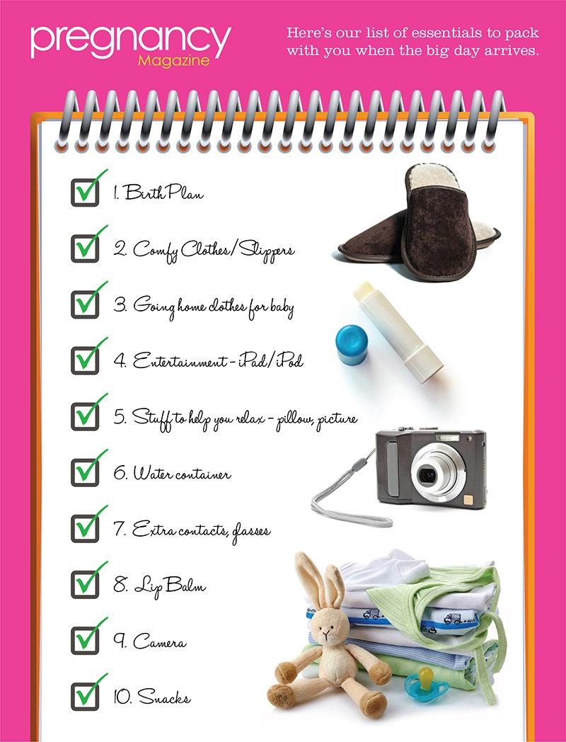 pregnancy hospital packing list