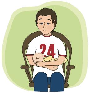 Cartoon of dad holding baby