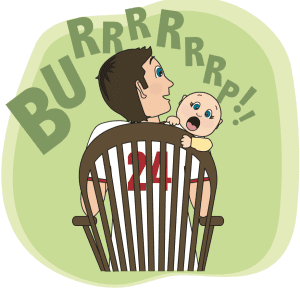 cartoon of dad burping baby