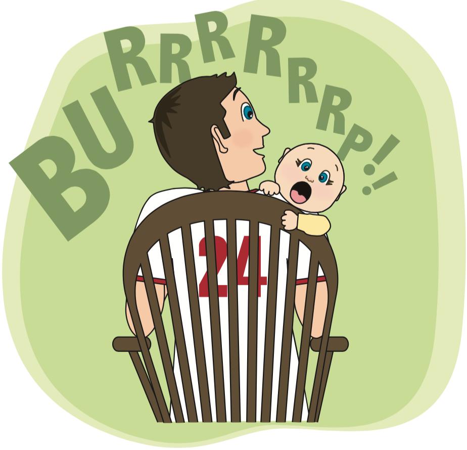cartoon of dad burping baby