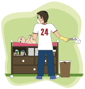 Cartoon of dad changing baby