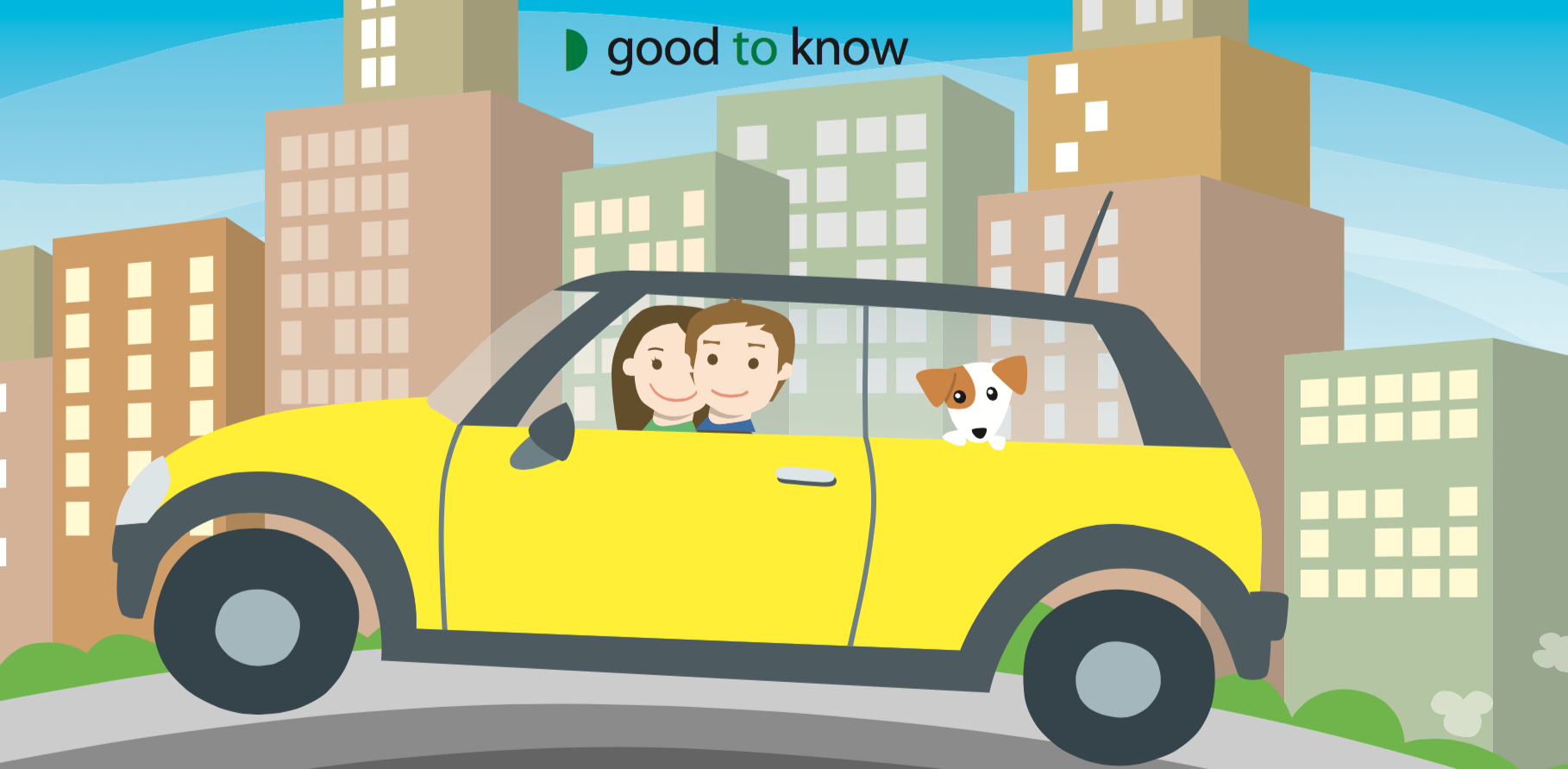 Cartoon couple in car with dog