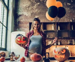 Pregnant woman on Halloween