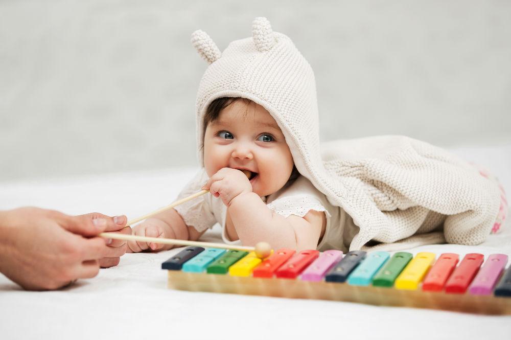 baby enjoying music
